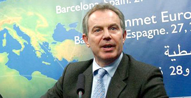 Tony Blair speaking at the Euro-Mediterranean summit in Barcelona