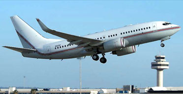 CIA rendition: A Boeing 737 BBJ with registrations N313P and N4476S, which may have carried terror suspects, has been seen at UK airports and is seen here at Palma, Majorca. Photograph: Toni Marimon/Airliners.net