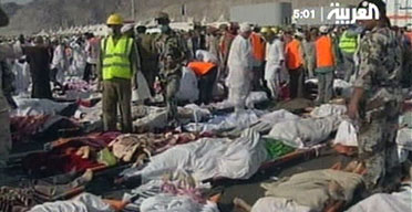 The bodies of hajj pilgrims are laid out following  a stampede at the end of a symbolic stoning ritual in Mina, Saudi Arabia, in which more than 350 people were killed. Photograph: Al Arabiya/AP