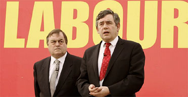 John Prescott and Gordon Brown at the launch an election campaign poster in 2005. Photograph: Peter Macdiarmid/Getty