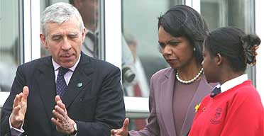 Condoleezza Rice visits Pleckgate high school in Blackburn, accompanied by Jack Straw