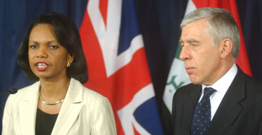 Jack Straw and the US secretary of state, Condoleezza Rice, at their joint press conference in Baghdad. Photograph: Ali Abbas/EPA