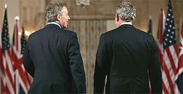 George Bush and Tony Blair at the White House