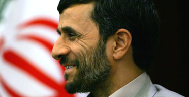 The Iranian president, Mahmoud Ahmadinejad, at a p