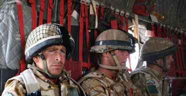 British soldiers from 3 Para Battalion travel in a Chinook helicopter from their base at Camp Bastion in southern Afghanistan to Sangin, a town at the centre of intense combat with Taliban forces