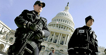 Police outside the Capitol building in Washington DC