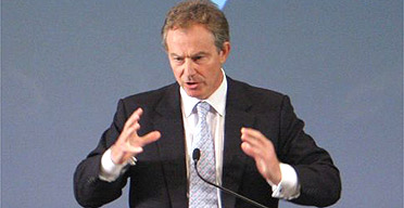 Tony Blair gives a speech on the Middle East in Los Angeles