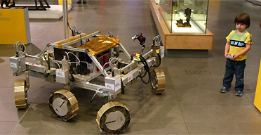 Bridget Exomars, a UK designed prototype planetary rover at the Science Museum, London