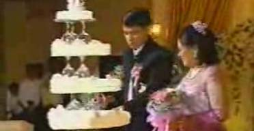 A still from the video of the wedding laid on by the head of the Burmese junta, General Than Shwe, for his daughter
