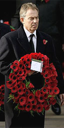 The prime minister Tony Blair at the Remembrance Sunday Service at The Cenotaph on November 12, 2006 in London