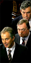 Tony Blair, John Prescott and Gordon Brown leave the House of Lords following the Queen's Speech