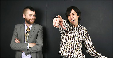 Charlie Porter (left) and Patrick Barkham in their party shirts