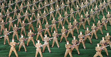 North Korean soldiers at the Arirang festival at the May Day stadium in Pyongyang