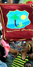 West Indies fans cheer at the World Cup opening ceremony on Sunday