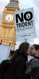 Protestors campaign against the Trident replacement outside the House of Commons