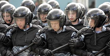 Russian police special forces go through their paces during a PR show at a training base outside Moscow