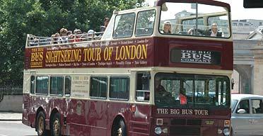 An open-top bus in London