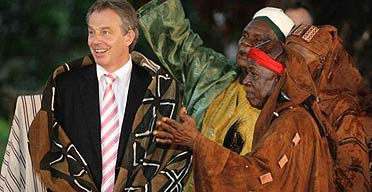 Tony Blair in a ceremonial gown