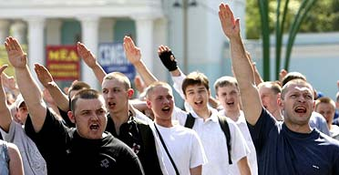 Anti-gay demonstrators in Moscow