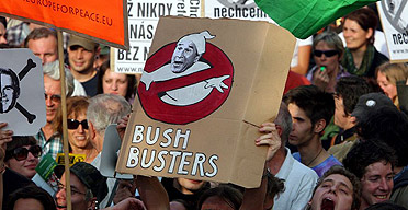 Protesters in Prague demonstrate against the visit of US president George Bush to the Czech Republic.