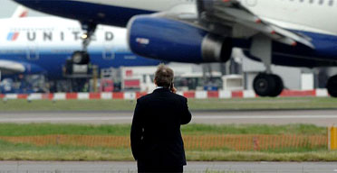 Tony Blair at Heathrow last month