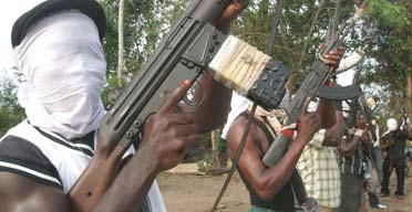 Nigerian militants at a training base