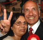 Labour's Virendra Kumar Sharma, with his wife Nirmala, after he was elected for Parliament at the Ealing Southall byelection this morning. Photograph: John Stillwell/PA.