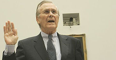 Former US defence secretary Donald Rumsfeld is sworn in prior to testifying before the House oversight and government reform committee hearing investigating the death of Cpl Pat Tillman in Afghanistan.