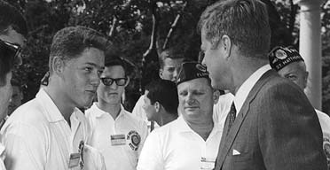 The future president Bill Clinton meets the then president, John F Kennedy, during a trip to the White House