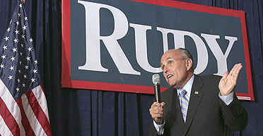 Republican presidential hopeful Rudy Giuliani gives a speech in Rochester, New Hampshire.