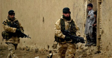 British soldiers on patrol in Kabul. Photograph: Rafiq Maqbool/AP