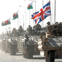 British tanks leave Basra city. Photograph: Steve Follows/MoD