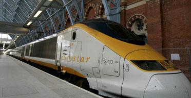 Eurostar train arrives at St Pancras