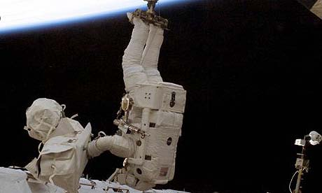 British-born astronaut Piers Sellers during a space mission in 2002