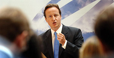 Conservative Party leader David Cameron during his speech on equal pay, at the offices of KPMG in the City of London