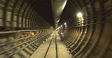 A tunnel inside the Yucca Mountain nuclear repository