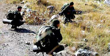 Turkish soldiers during a military operation to target Kurdish rebels belonging to the PKK