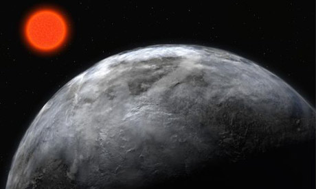 An artist's impression showing a super earth around Gliese 581