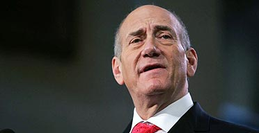 Israeli prime minister Ehud Olmert at the Middle East peace conference in Annapolis