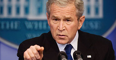 US president George Bush speaks during a press conference in the Brady Briefing Room of the White House in Washington, DC.