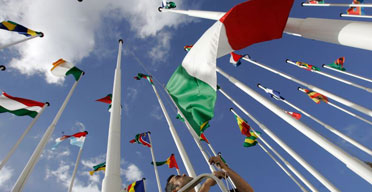 Flags fly at the Lisbon summit