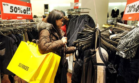 A Boxing Day shopper in Selfridges