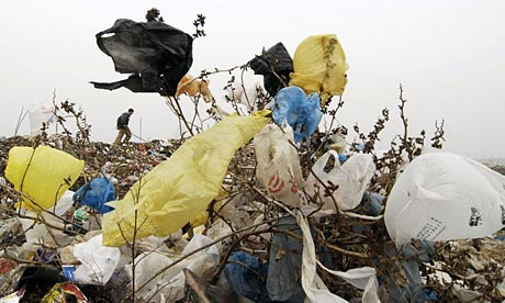 Plastic bags in China.