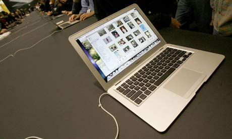 Apple's new MacBook Air ultra thin laptop sits on display at the MacWorld Conference & Expo in San Francisco