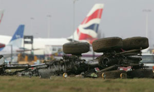 Debris from yesterday's Heathrow plane crash