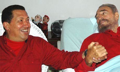 Hugo Chávez visits Fidel Castro in hospital, August 2006
