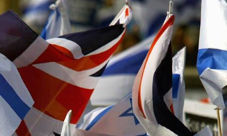English and Israeli flags