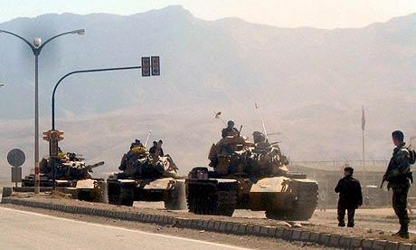 Turkish tanks cross into northern Iraq from the Habur border near Turkey's south-eastern city of Diyarbakir