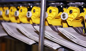 Newspapers hot off the press at a printing centre