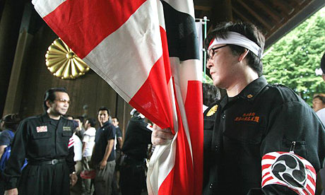 Right-wing nationalists visit the Yasukuni shrine in Tokyo